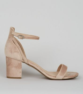 Nude Comfort Velvet Low Block Heel Sandals