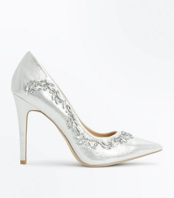 Silver Shimmer Embellished Court Shoes