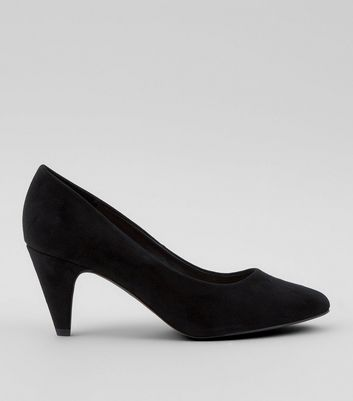 Black Comfort Cone Heel Court Shoes