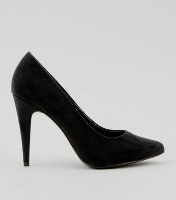 Black Suedette Cone Heel Pointed Court Shoes