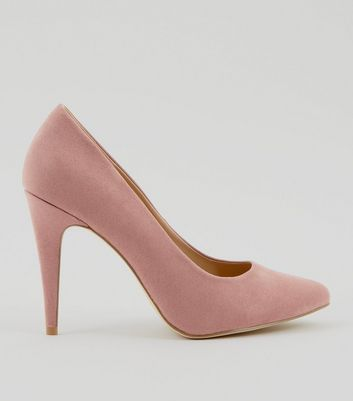 Pink Suedette Cone Heel Pointed Court Shoes