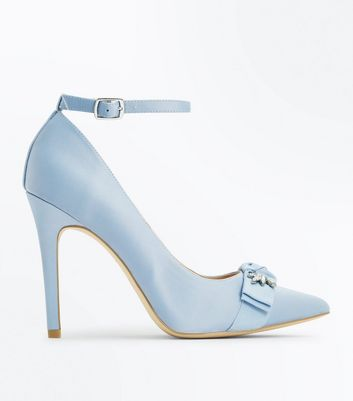 Blue Satin Embellished Bow Court Shoes