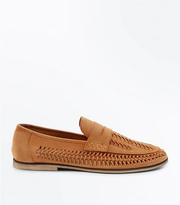 Tan Suedette Woven Side Loafers