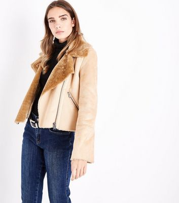 Blue Vanilla Camel Faux Shearling Cropped Jacket