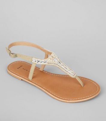 Wide Fit Nude Pink Embellished Toe Post Sandals