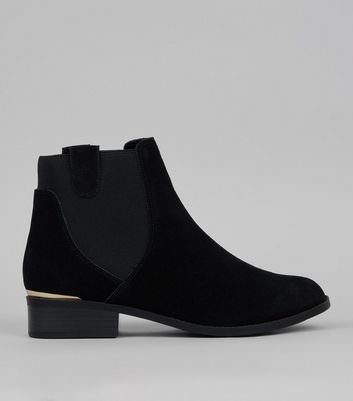 Black Suede Metal Trim Boots
