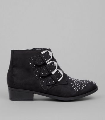 Teens Black Suedette Western Buckle Boots