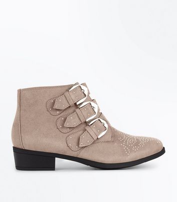 Teens Light Brown Suedette Western Buckle Boots