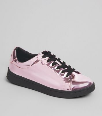 Teenager – Sneaker mit Schnürung in Pink-Metallic
