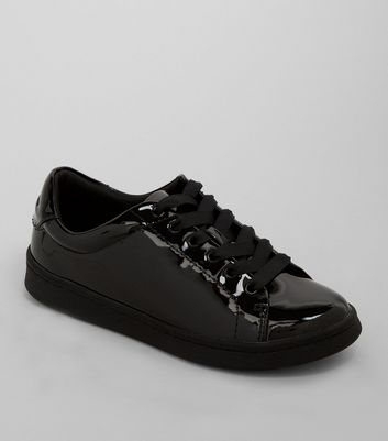 Teens Black Patent Lace Up Trainers