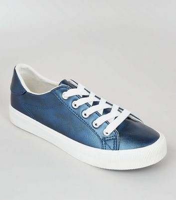 Teenager – Sneaker zum Schnüren in Blau-Metallic