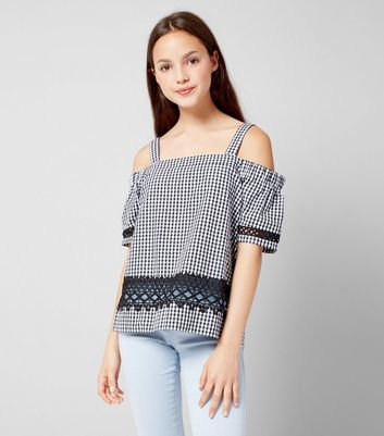 Teens Black Gingham Cold Shoulder Top