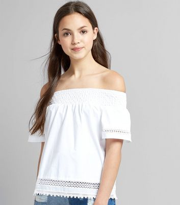 Teens White Crochet Bardot Neck Top