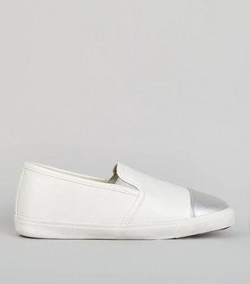 Wide Fit Metallic Cap Slip On Plimsolls