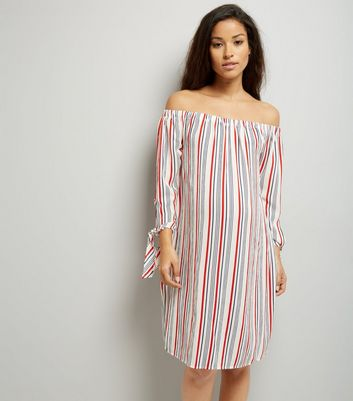 Maternity White Contrast Stripe Bardot Dress
