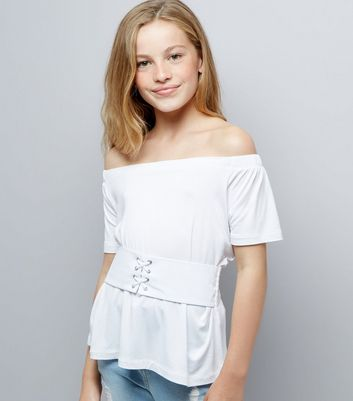 Teens White Corset Waist Bardot Neck Top