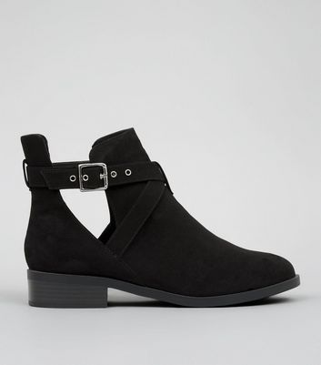 Wide Fit Black Suedette Cut Out Boots