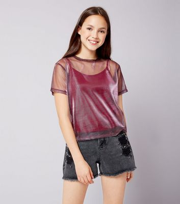 Teens Deep Pink Metallic Mesh Top