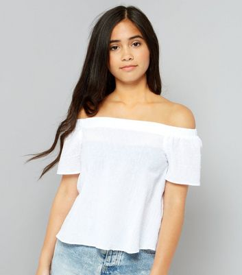 Teens White Spot Textured Bardot Neck Top