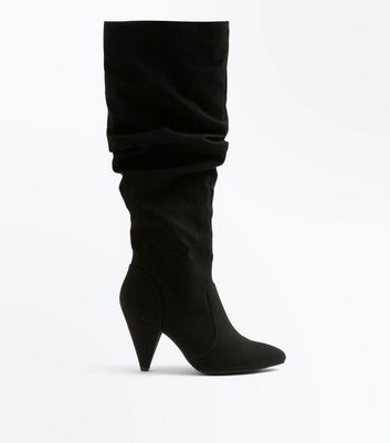 Black Suedette Knee High Cone Heel Boots
