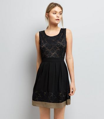 Apricot Black Lace Skater Dress