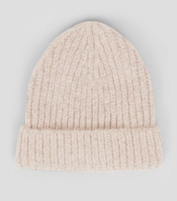 Pink Brushed Knit Beanie Hat