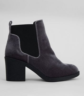 Wide Fit Grey Velvet Ankle Boots