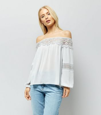 ... Pale Grey Crochet Trim Bardot Top