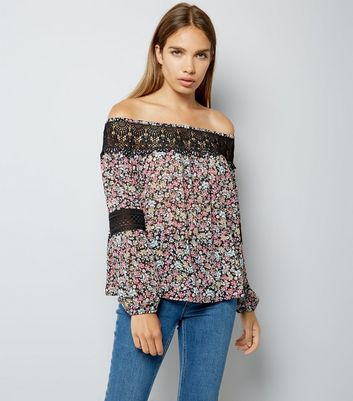 Black Floral Print Lace Trim Bardot Neck Top