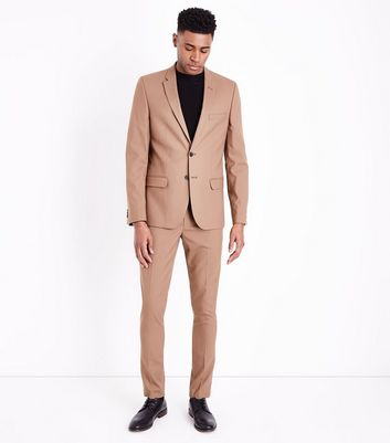 Camel Skinny Suit Trousers