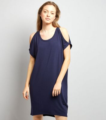 Apricot Navy Cold Shoulder T-Shirt Dress