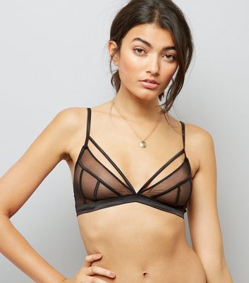 Black Mesh Strappy Satin Bralet