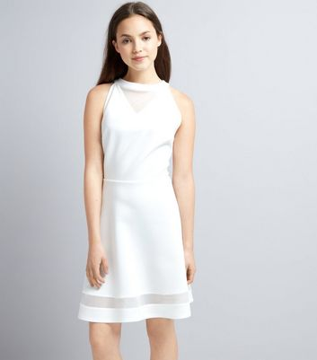 Teens White Mesh Panel Scuba Skater Dress