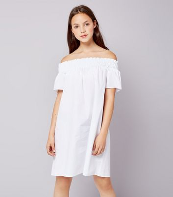 Teens White Bardot Neck Dress