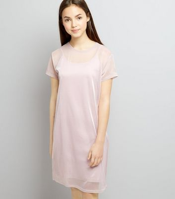Teens Pink Mermaid Mesh Dress