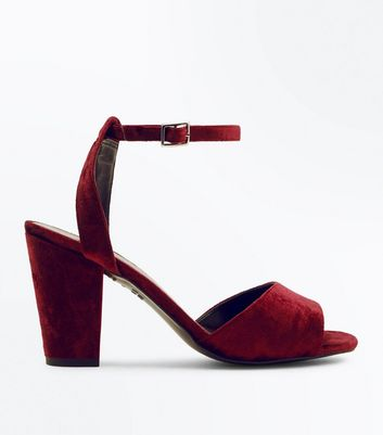 Dark Red Velvet Block Heel Sandals