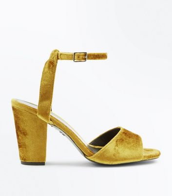 Yellow Velvet Block Heel Sandals