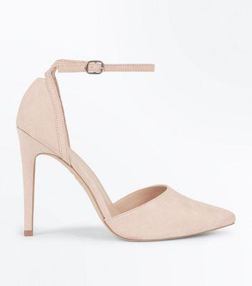 Nude Suedette Keyhole Back Pointed Court Shoes