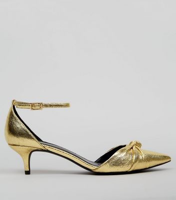 Gold Knot Front Pointed Kitten Heels