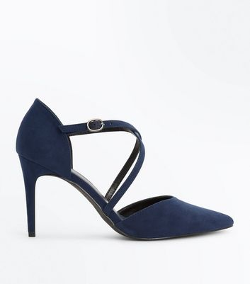 Navy Suedette Cross Strap Pointed Heels