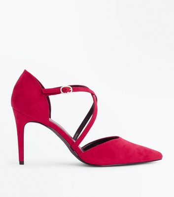 Pink Suedette Cross Strap Pointed Heels