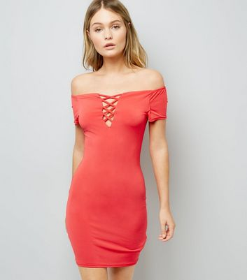 Coral Lattice Bardot Neck Bodycon Dress