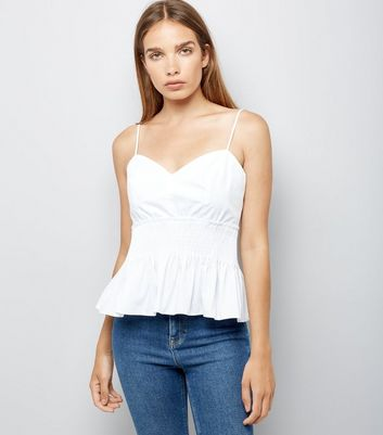 White Poplin Shirred Waist Cami