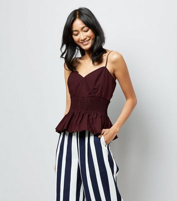 Burgundy Shirred Waist Cami