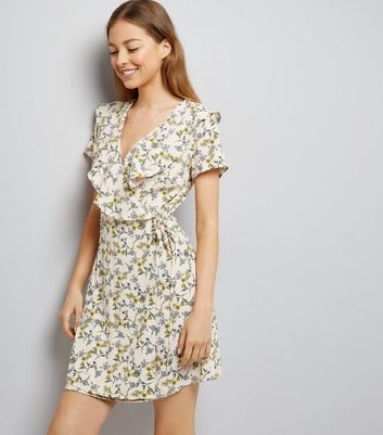 White Floral Print Frill Trim Wrap Front Dress