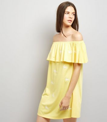 Yellow Floral Embroidered Bardot Neck Dress
