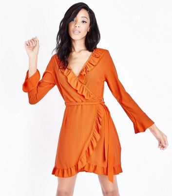 Bright Orange Frill Trim Wrap Front Dress