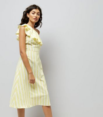 Yellow Stripe One Shoulder Frill Dress