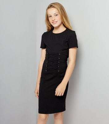 Teens Black Corset Lace Up T-Shirt Dress