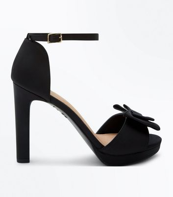 Black Comfort Bow Platform Block Heel Sandals